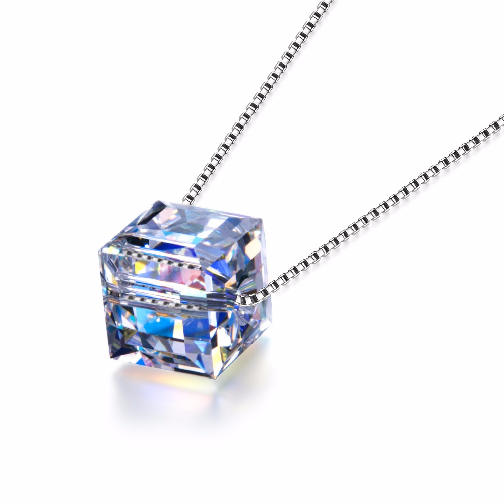 Simple Design Single Cube Pendant <strong>Necklace</strong>,Sterling Silver Jewelry with Crystal From Swarovski