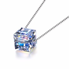 Simple Design Single Cube Pendant Necklace,Sterling Silver Jewelry with Crystal From Swarovski