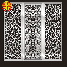 Electroplated movable partition decorative metal screen patterns white room divider for hall