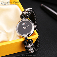 Ladies jewelry watches Beauties of Emperor EPOZZ nature gemstone Mexico natural obsidian bracelet watch 925 silver