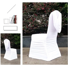 hot sale cheap stretch polyester Wrinkle curtain white wedding ruched chair cover from China