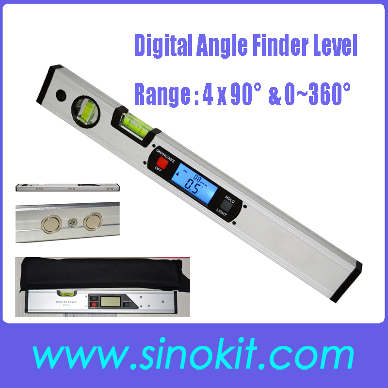 Digital Angle Finder <strong>Level</strong> 360 Degree Range Spirit <strong>Level</strong> Upright Inclinometer with Magnets Protractor Ruler JY400-1M(C)