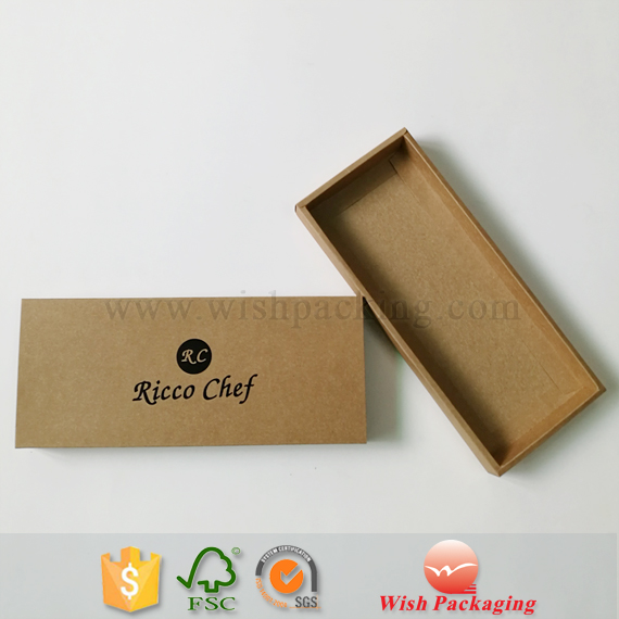 Eco friendly recyclable material box Black hot stamping logo natural brown kraft paper box