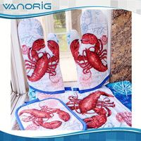 2015 Latest Printed Cotton fire-proof oven mitts