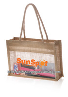 Hessian and PVC conference sling bag