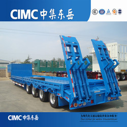 China Manufacturer Trailer Supplier tri axles Lowbed Semi Trailer / Truck Low Boy Semi Trailer