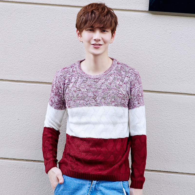 2017new arrival crew neck long sleeve stripe man sweater