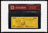 Gold Money Replica US Money Gold Banknote 50 Dollars Custom Art And Craft with PVC holder and COA Certificate