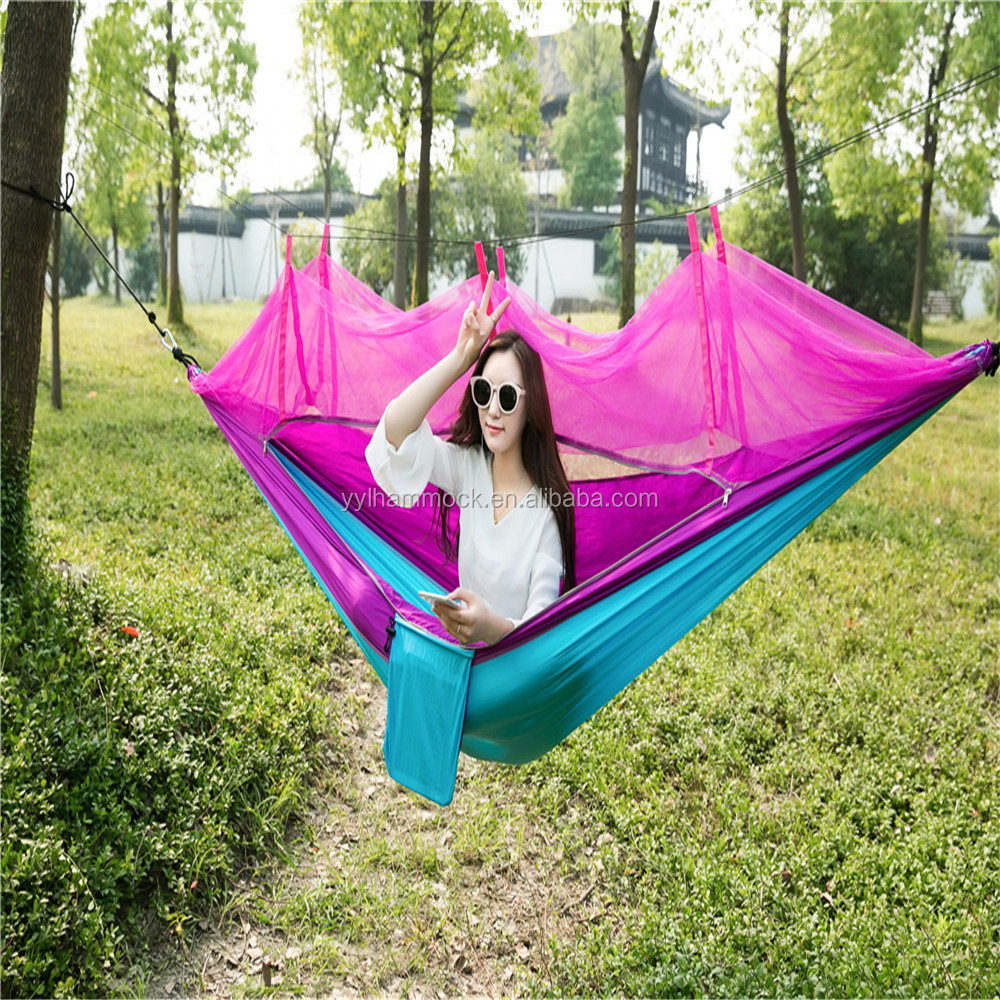 High quality and colorful nylon hammocks wtih mosquito net