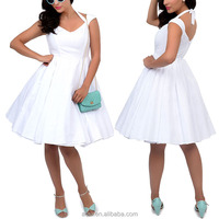 Oem unique clothes factory 1950s style halter neckline white rockabilly swing dress for mature women