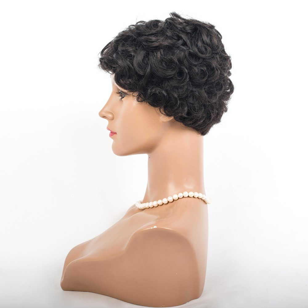 hot unprocessed human virgin short hair small curly wig machine made cap