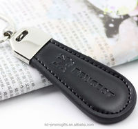 Hot Selling Car Brand Genuine Leather Keychain For Men Peugeot Logo Leather Keychain Key Ring