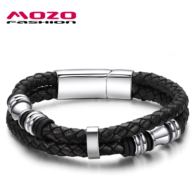 Wholesale 2016 new fashion jewelry men's bracelets genuine leather titanium steel Bracelet male Vintage creative Boutique MPH911