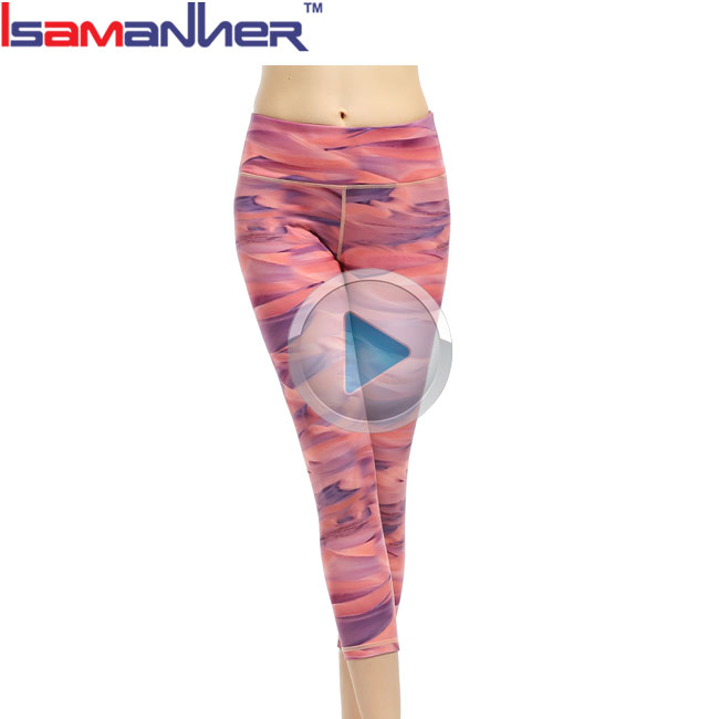 Girls wearing tight colorful sports fitness suit yoga pants womens