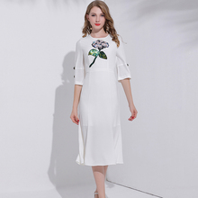 Fashion Short Sleeve Embroidered White Linen Dress from Chinese Clothing Manufacturers