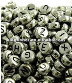 DIY jewelry 4x7mm flat round metalic colors acrylic plastic alphabet beads.