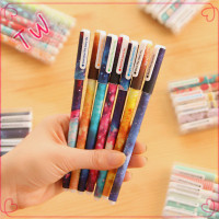 Most popular korean stationery ,laest hot sale 6pcs plastic ink pen best gel pens sets wholesale factory price