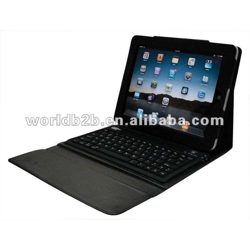 Bluetooth Slicon Keyboard Leather Cover Case for New iPad/iPad 3