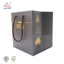 Manufacturer Luxury gift shopping bags Honey comb external packaging bag with embossing finishing.