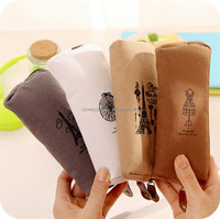 Hot Sale Fashion Retro Canvas Pencil Pen Case Cosmetic Makeup Coin Pouch Zipper Bag Purse