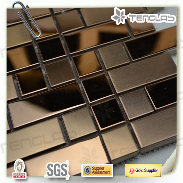 cheapest rose color brushed stainless steel mosaic