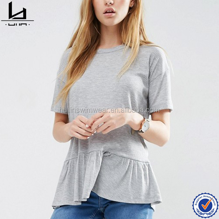 High quality latest design ladies fashion shirt with frills top