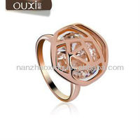 OUXI Big sale Rose shaped gold plated funny engagement ring