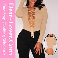 Dear lover Sexy Nude Ribbed Knit Lace Bodysuit women new sexy nighty design