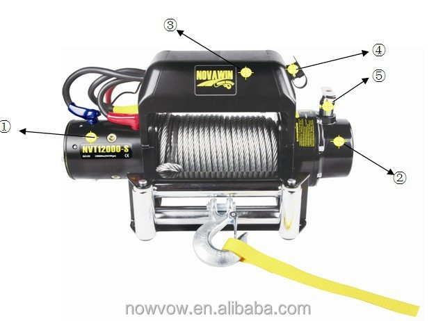 high quality electric winch 12V NVT12000, 12000lb winch, fast line speed electric winch
