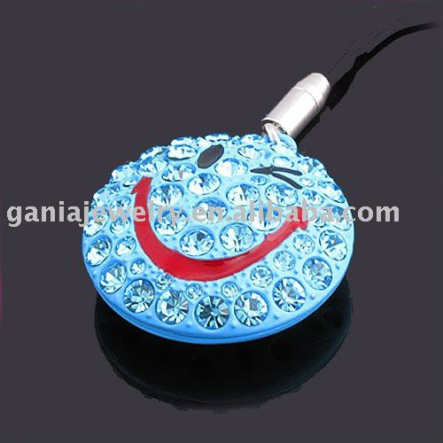 Alloy Mobile Phone Chain with Aquamarine Crystal Smile Face Charm