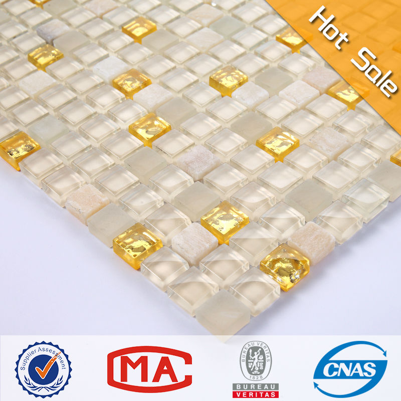 premium beautiful design white crystal glass mosaic mix gold mosaic mix tumble tawny stone mosaic tile floor tile home depot