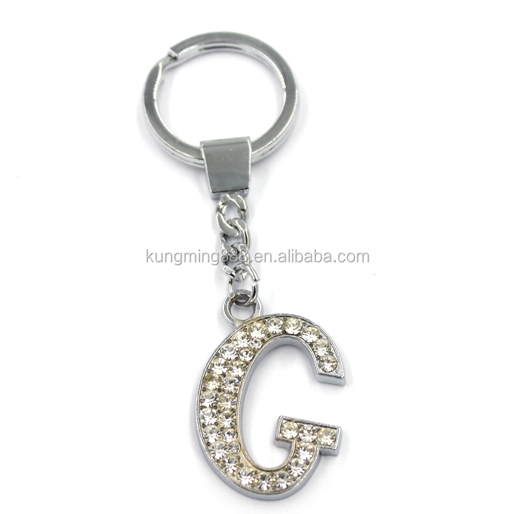 New Fashion Wholesale Custom Crystal Alphabet Letters Metal KeyChain