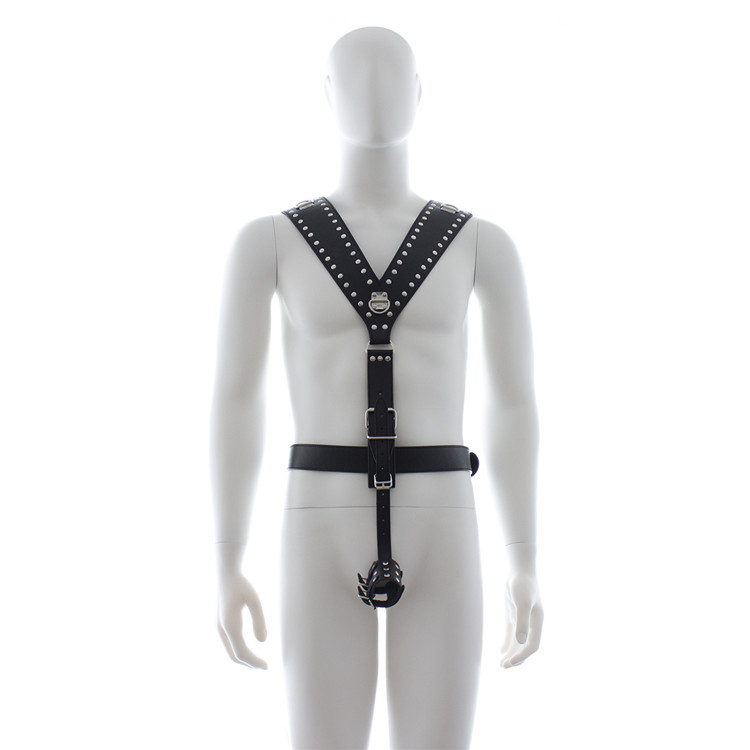 2017 Sex Products Leather Chest Bondage Costume male Waist Harness Fetish Restraint Straps Lingerie for Men with Cock Ring