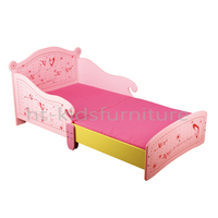 HT-PH002 133x79x60/30cm E1 MDF Easy Assembly Girls Heart Design Toddler Bed For Wholesale, Personalized Kids Wooden Toddler Bed