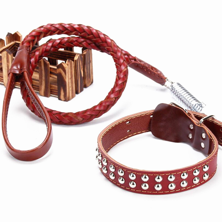 High Quality Braid Neck Strap Large Medium Pets Leather Dog Leash and Collar