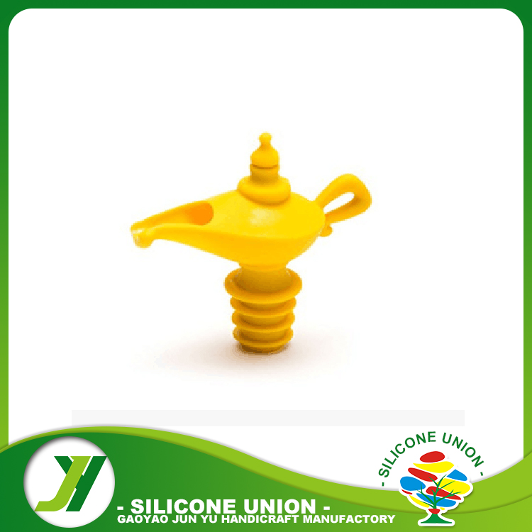 Yellow color silicone wine bottle stopper