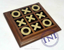 Tic Tac Toe Game Fitted In Wooden Tray, Wooden Tic Tac Toe Game, Metal Tic Tac Toe Game
