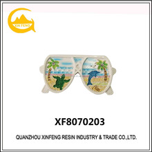 White Color Glasses Design With Sea View Polyresin Fridge Magnet Souvenirs