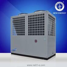 Family using power saving air to water heat pump water cool chiller
