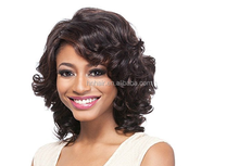 Brown short female side part synthetic hair wig with skin top for Asian women