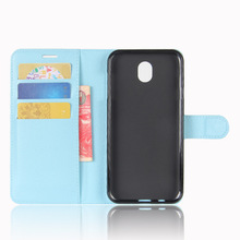 Litchi pattern Folio Flip PU Leather Wallet Case for samsung j7pro Card Slot and Stand holster for samsung Galaxy J7 pro