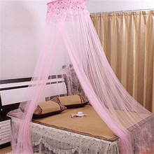 Elegant Pink Round Lace Curtain Dome Bed Canopy Netting Princess Mosquito Net