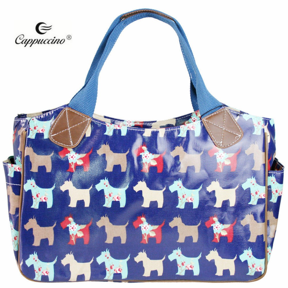 China Wholesale Ladies Dog Printed Oilcloth Shoulder Handbag