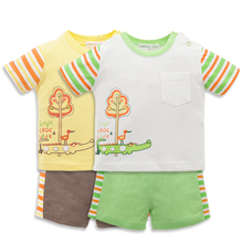 Promotional Good Quality Summer Knitted 100% Cotton Two Pieces T-Shirt and Short Pants Newborn Infant Baby Clothes Set