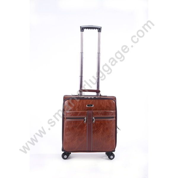 Elegant genuine leather durable carry on luggage koffer