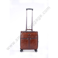 Elegent genuine leather durable carry on luggage koffer