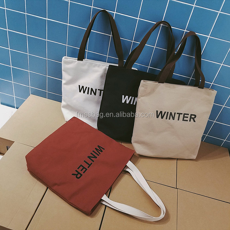 strong 100% cotton canvas tote bag with printing zipper closure
