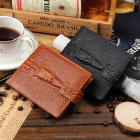 skull genuine leather men wallet