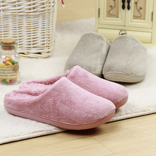 Winter pure colour non-slip waterproof lovers indoor slippers