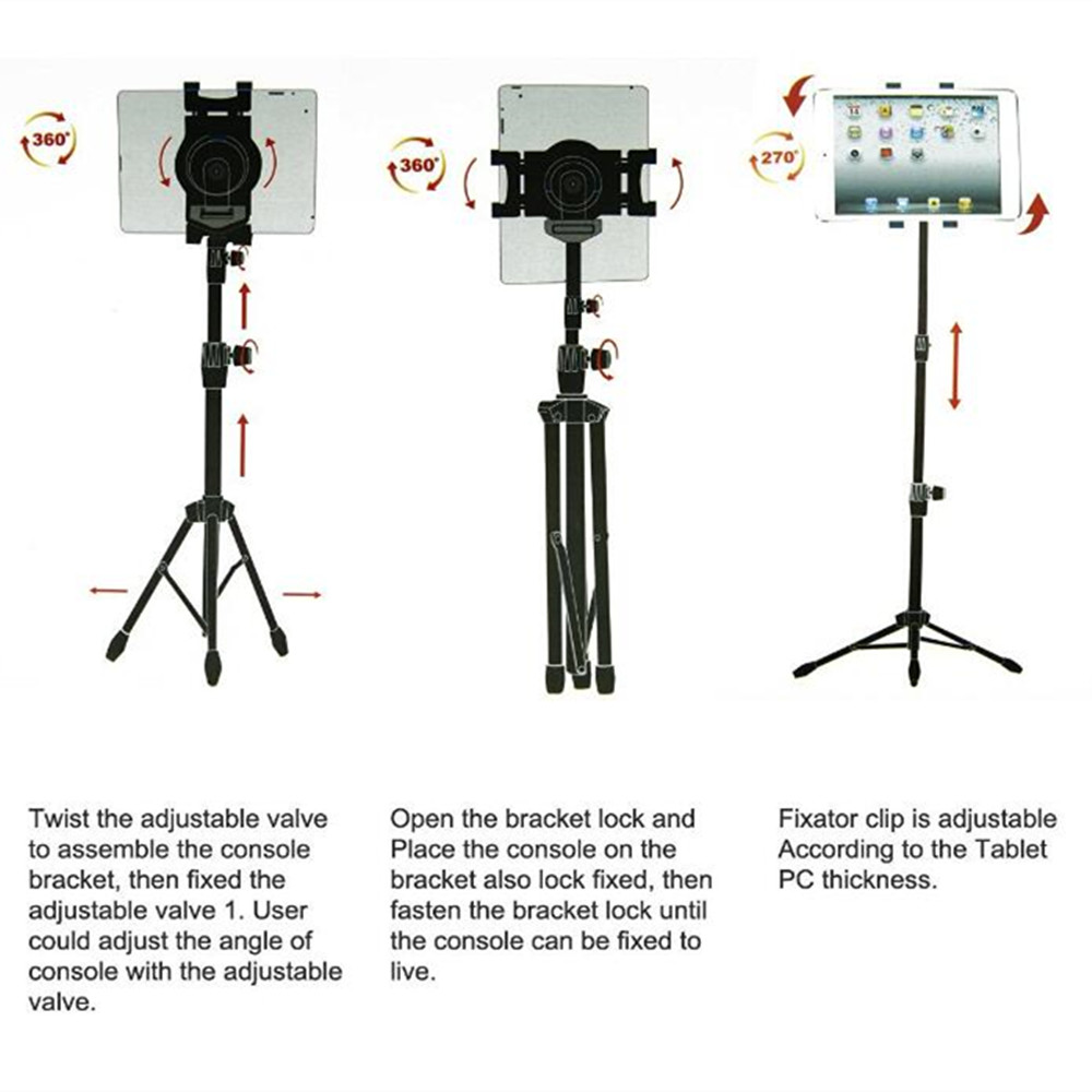 Low MOQ adjustable universal tablet holder tripod for ipad